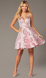 Image of floral jacquard pink short hoco dress with corset. Style: JO-JVN-JVN00564 Front Image