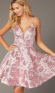 Image of floral jacquard pink short hoco dress with corset. Style: JO-JVN-JVN00564 Detail Image 1