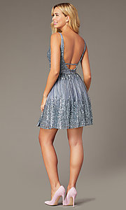 Image of sequined grey fit-and-flare homecoming party dress. Style: JO-JVN-JVN4762 Back Image