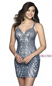 Image of short beaded homecoming dress with open back. Style: BL-B151 Front Image