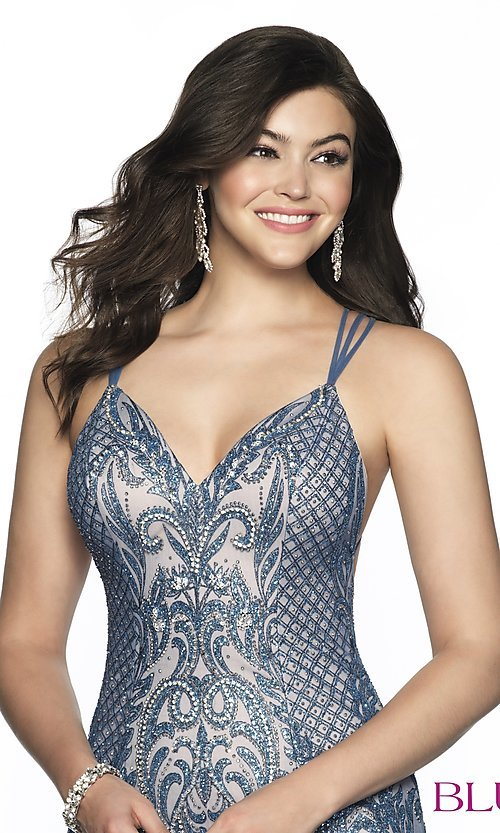 Image of short beaded homecoming dress with open back. Style: BL-B151 Detail Image 1