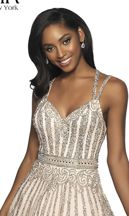 Image of short beaded homecoming dress with a-line skirt. Style: BL-FL-19333 Detail Image 1