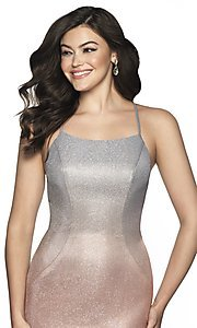 Image of short shimmer open-back homecoming dress. Style: BL-IN-631 Detail Image 1