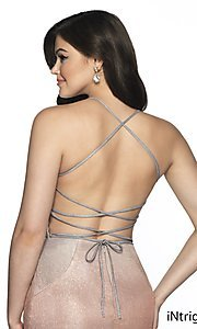 Image of short shimmer open-back homecoming dress. Style: BL-IN-631 Detail Image 2