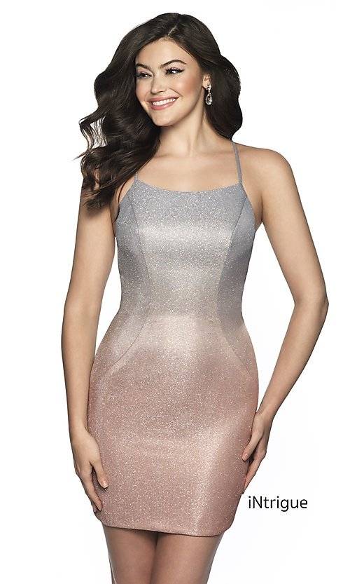 Image of short shimmer open-back homecoming dress. Style: BL-IN-631 Front Image