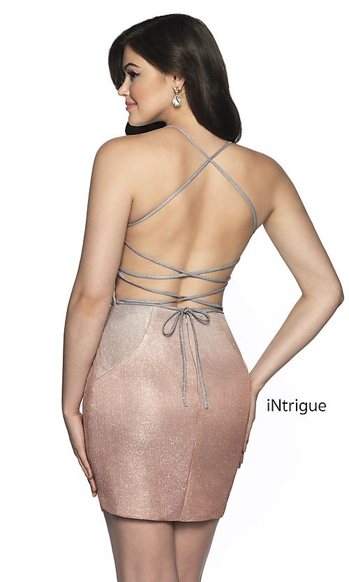 Image of short shimmer open-back homecoming dress. Style: BL-IN-631 Back Image