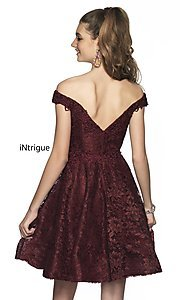 Image of fit-and-flare homecoming dress in embroidered lace. Style: BL-IN-648 Back Image