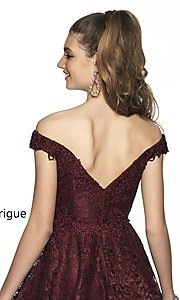 Image of fit-and-flare homecoming dress in embroidered lace. Style: BL-IN-648 Detail Image 2