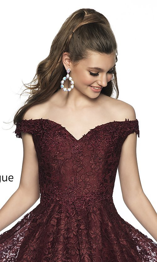 Image of fit-and-flare homecoming dress in embroidered lace. Style: BL-IN-648 Detail Image 1
