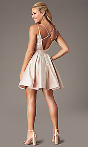 Image of v-neck short a-line glitter hoco dress by PromGirl. Style: TE-PL-4076 Back Image