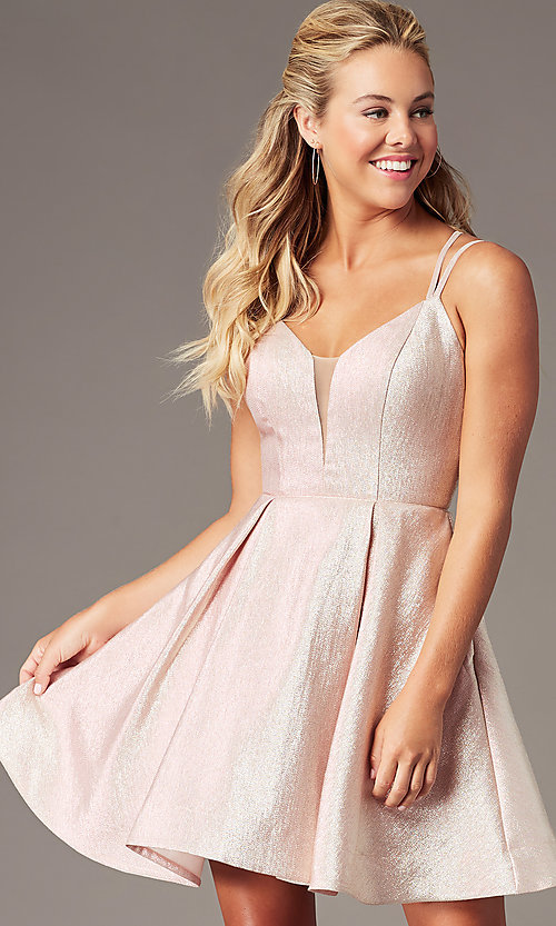Image of v-neck short a-line glitter hoco dress by PromGirl. Style: TE-PL-4076 Front Image