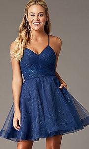 Image of PromGirl open-back glitter homecoming dress. Style: TE-PL-4059 Front Image