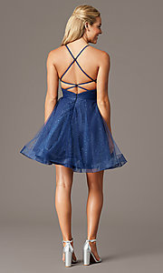 Image of PromGirl open-back glitter homecoming dress. Style: TE-PL-4059 Detail Image 2