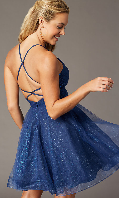 Image of PromGirl open-back glitter homecoming dress. Style: TE-PL-4059 Back Image