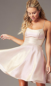 Image of PromGirl glitter-knit short a-line hoco dress. Style: TE-PL-4080 Front Image