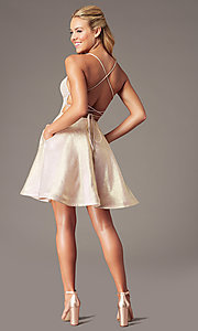 Image of PromGirl glitter-knit short a-line hoco dress. Style: TE-PL-4080 Detail Image 3