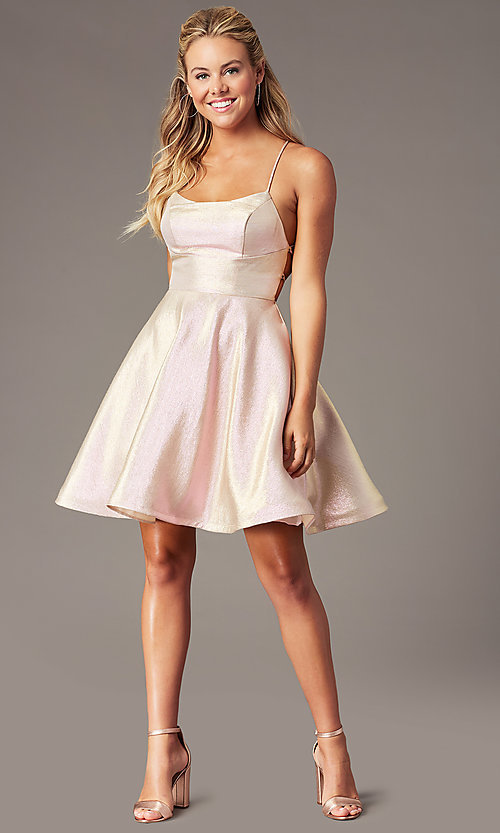 Image of PromGirl glitter-knit short a-line hoco dress. Style: TE-PL-4080 Detail Image 1
