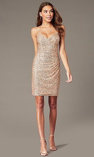 Short Rose Gold Sequin Hoco Dress by PromGirl