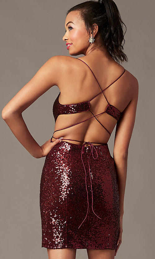 Image of short sequin holiday party dress with corset. Style: TE-4128 Back Image