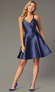 Image of short satin a-line homecoming dress by PromGirl. Style: SJP-PL-AS114 Front Image