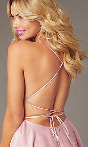 Image of backless short homecoming party dress with corset. Style: DJ-A8089 Detail Image 2