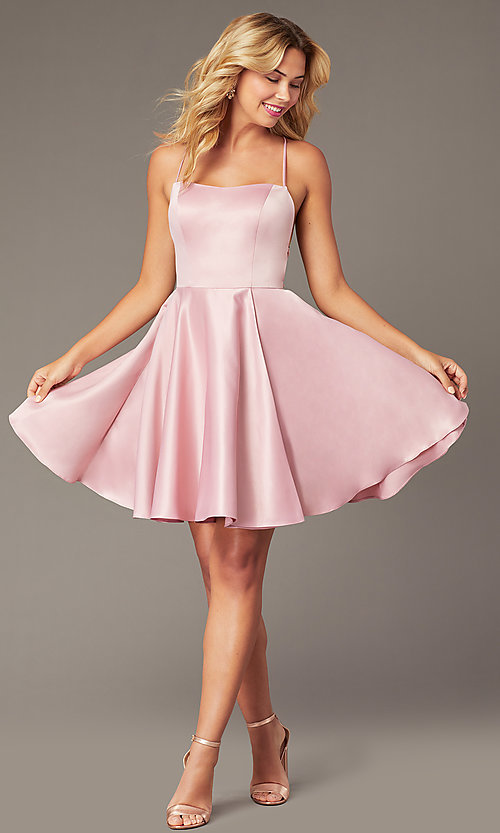 Image of backless short homecoming party dress with corset. Style: DJ-A8089 Front Image