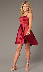Image of short burgundy red homecoming Dave and Johnny dress. Style: DJ-A8220 Front Image