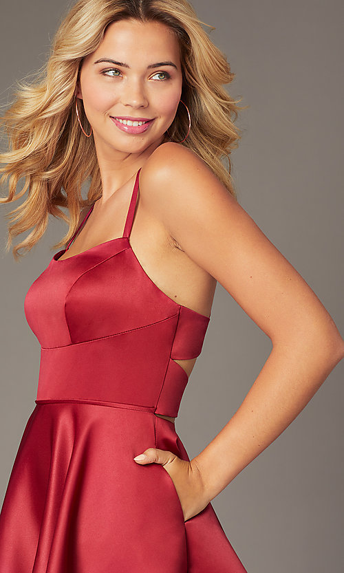 Image of short burgundy red homecoming Dave and Johnny dress. Style: DJ-A8220 Detail Image 1