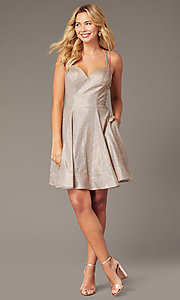 Image of short homecoming party dress in metallic rose gold. Style: DJ-A8224 Back Image