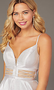 Image of metallic-knit short a-line homecoming dress. Style: DJ-A8454 Detail Image 2