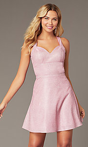 Image of short glitter-knit sweetheart hoco dress. Style: DJ-A8597 Front Image