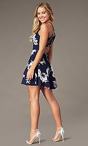 Image of short floral-print tiered homecoming dress. Style: SS-D79221DB46 Back Image