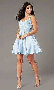 Image of short a-line pale blue hoco dress by PromGirl. Style: DQ-PL-3037 Detail Image 1
