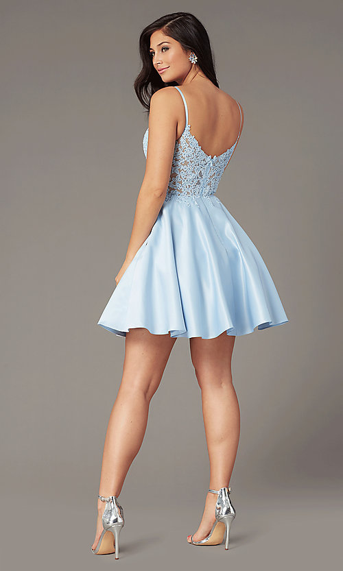 Image of short a-line pale blue hoco dress by PromGirl. Style: DQ-PL-3037 Back Image