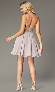 Image of flared short homecoming dress with jeweled bodice. Style: DQ-3129 Detail Image 2