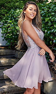 Image of flared short homecoming dress with jeweled bodice. Style: DQ-3129 Detail Image 3