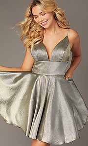 Image of short metallic fit-and-flare homecoming dress. Style: JO-JVN-JVN3782 Detail Image 3