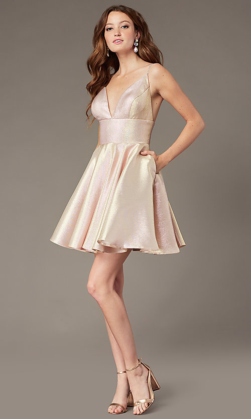 Image of short metallic fit-and-flare homecoming dress. Style: JO-JVN-JVN3782 Detail Image 1