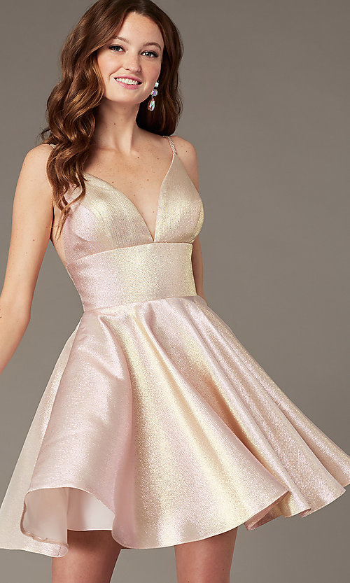Image of short metallic fit-and-flare homecoming dress. Style: JO-JVN-JVN3782 Front Image