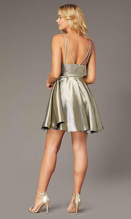 Image of short metallic fit-and-flare homecoming dress. Style: JO-JVN-JVN3782 Detail Image 4