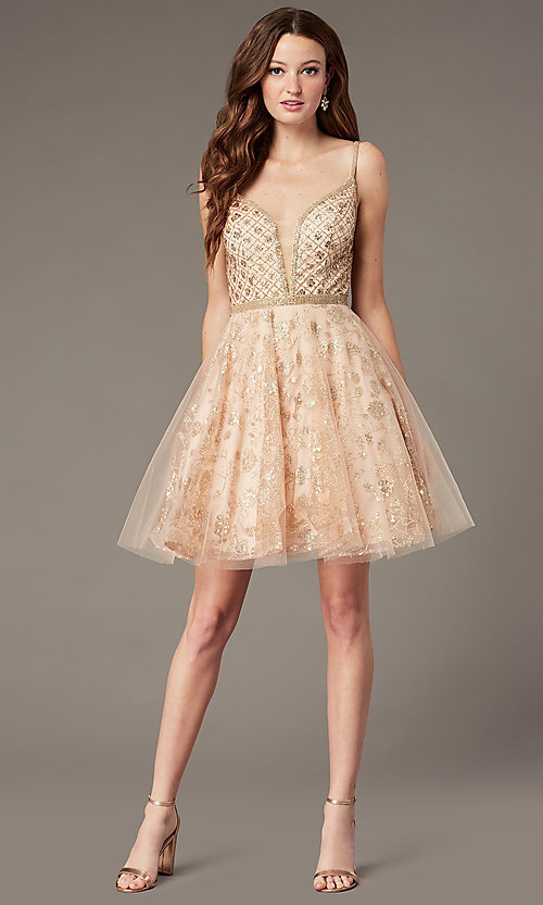 Image of babydoll-style homecoming dress with glitter. Style: JO-JVN-JVN4298 Detail Image 1