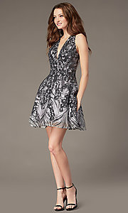 Image of short sequin fit-and-flare homecoming party dress. Style: JO-JVN-JVN66654 Detail Image 1