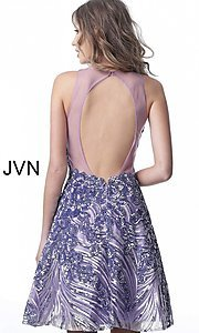 Image of short sequin fit-and-flare homecoming party dress. Style: JO-JVN-JVN66654 Detail Image 4