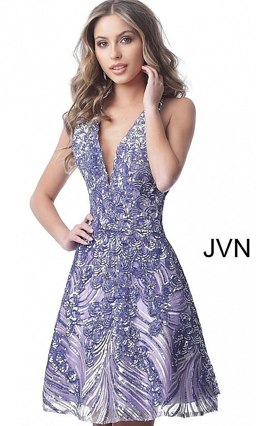 Image of short sequin fit-and-flare homecoming party dress. Style: JO-JVN-JVN66654 Detail Image 3
