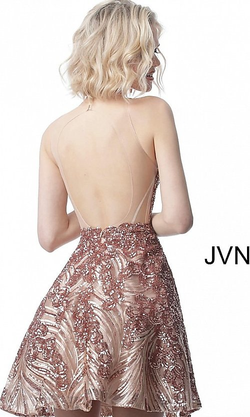 Image of short sequin fit-and-flare homecoming party dress. Style: JO-JVN-JVN66654 Detail Image 6