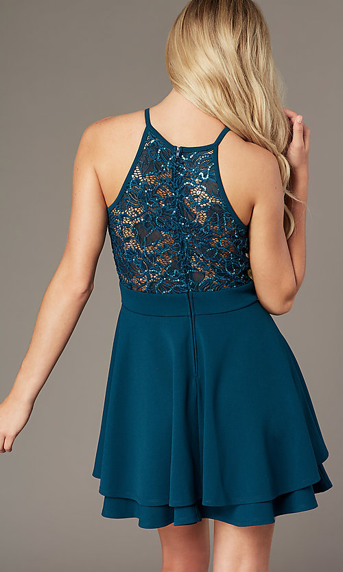 Image of short teal green party dress with glitter lace. Style: EM-HAJ-3546-350 Back Image