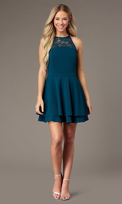 Image of short teal green party dress with glitter lace. Style: EM-HAJ-3546-350 Detail Image 1