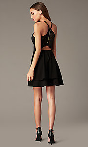 Image of short black homecoming party dress with lace back. Style: EM-FQP-3405-001 Back Image