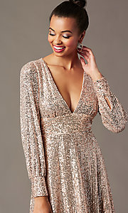 Image of short sequin holiday party dress in blush pink. Style: EM-HOI-4293-690 Detail Image 2