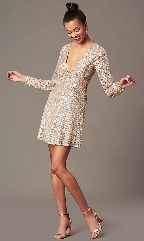 Image of short sequin holiday party dress in blush pink. Style: EM-HOI-4293-690 Front Image